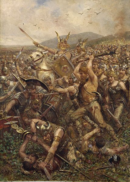 Germanic warriors storm the field, Varusschlacht, 1909