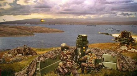 ên lửa phòng không Rapier của Anh bắn hạ máy bay A4 Skyhawk trong trận San Carlos, tranh vẽ của Daniel Bechennec