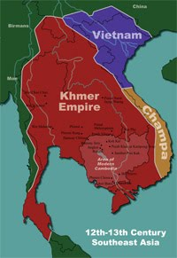 map of khmer empire 12th-13th century