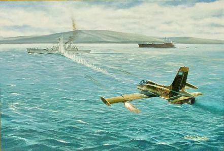 Tranh vẽ Trung úy Crippa lái chiếc máy bay phản lực Aermacchiđơn độc tấn công tấn công chiếc tàu khu trục HMS Argonaut