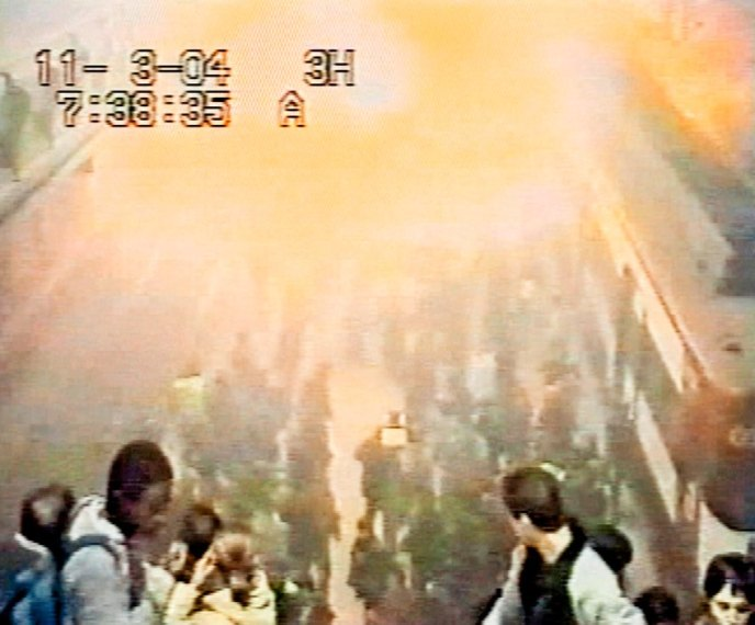 Video grab from security camera shows bomb exploding on March 11 in Atocha railway station in Madrid