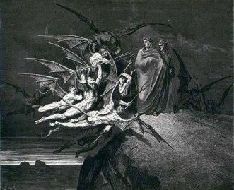 Devils confronting Dante and Virgil