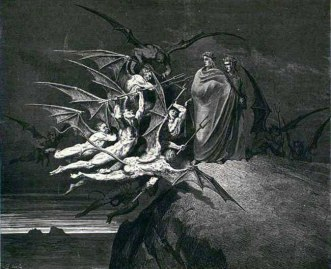 Devils confronting Dante and Virgil