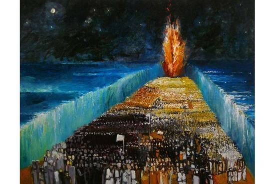 """""""Exodus"""" (Trở về Đất Hứa) – Tranh của Richard Mcbee – Moses rẽ nước Hồng Hải để từ bờ Ai Cập trở về Đất (được) Hứa"""