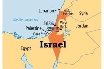 """Palestine (giờ vẫn chưa là một quốc gia, chỉ là một """"nhà chức trách"""" và không có quân đội) với hai phần đất """"còn lại"""": Dải Gaza bên ngoài, sát biển, và khu bờ tây sông Jordan, trong đất liền, có thành Bethlehem, nơi Chúa sinh ra đời. Thành Jerusalem tại đây – nơi Chúa Jesus bị đóng đinh, cũng chia hai: nửa Tây thuộc Israel, nửa Đông thuộc Palestine."""