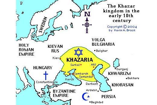 Vương quốc Khazar, kẹp giữa gọng kìm Ki-tô và Hồi giáo, vào thế kỉ 7-10 đã chọn Do Thái làm quốc giáo nhưng sau đó bị người Nga xâm lăng và Mông cổ phân tán. Dân tộc Khazar mang Do Thái giáo lưu vong sang Đông Âu. Phần này, nếu quả là như vậy,không thấy (chưa thấy, chắc phải đợi 10 thế kỉ nữa) về đòi lại và lập nước tại Nga-Ukraine-Kazakstan ngày nay.