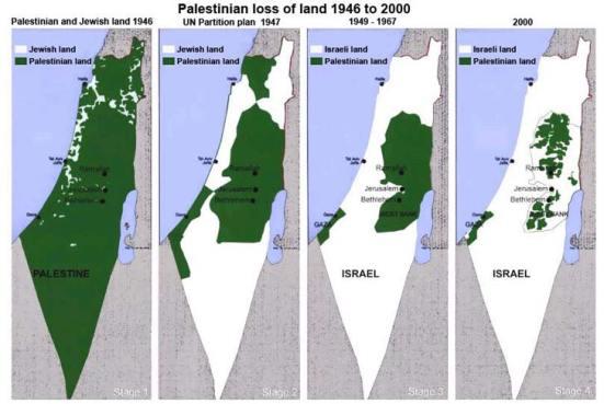 """Bản đồ về tiến trình mất đất của Palestine, từ 1946 đến 2000, cuối cùng gần như bị… văng ra biển. Ai chiếm? Dĩ nhiên là """"thằng bé tội nghiệp Israel"""" rồi"""