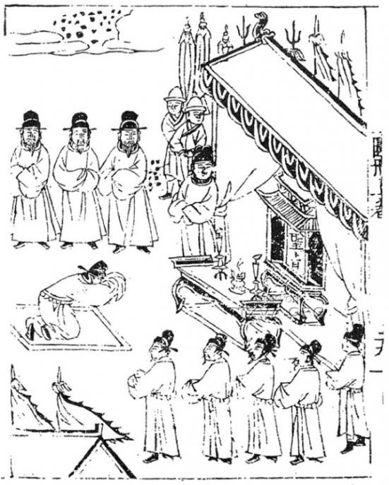 Mạc Đăng Dung (莫登庸, 1483 – 1541) lạy thánh chỉ của hoàng đế Minh Thế Tông (明世宗, 1507 – 1567). Tranh in trong cuốn An Nam lai uy đồ sách.