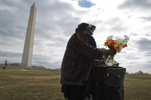 A homeless resident of Washington stands on the National Mall, March 3, 2013. (Jonathan Ernst / Courtesy Reuters)