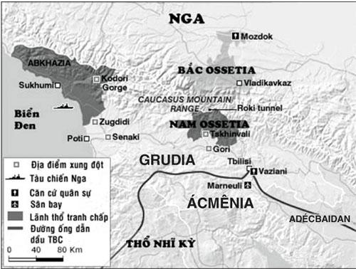 Bản đồ chiến sự trong cuộc giao tranh Nga – Grudia.