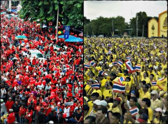 biểu tình của 2 phe áo Đỏ và áo Vàng ở Thái Lan