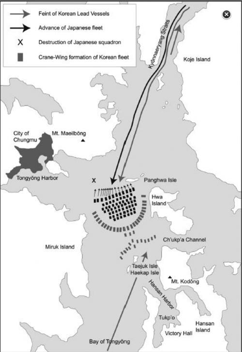 Yi Sun-shin dùng đội hình cánh sếu để đánh bại quân Nhật.