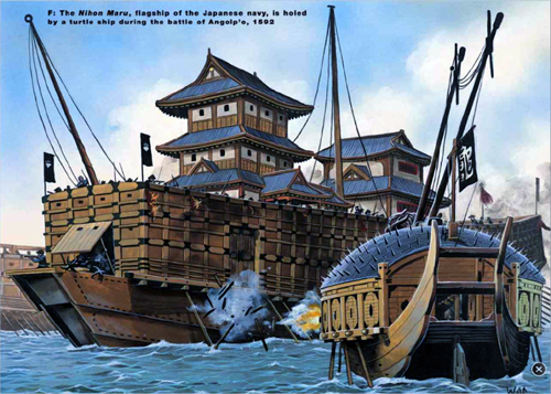 Tàu Nihon Maru bị tàu Con rùa tấn công.