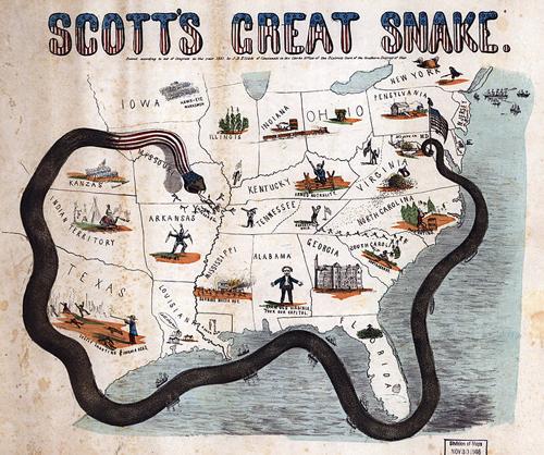 """Bản đồ năm 1863 mô tả """"Kế hoạch mãng xà"""" của Tướng Scott nhằm bao vây miền Nam."""