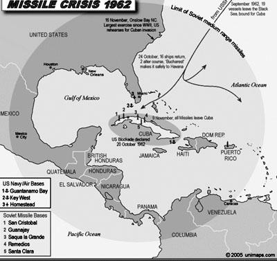 Bản đồ mô tả cuộc khủng hoảng tên lửa Cuba năm 1962