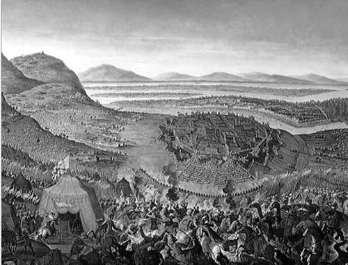 Tranh vẽ cảnh nhìn từ trại của quân Ottoman hướng ra Vienna.