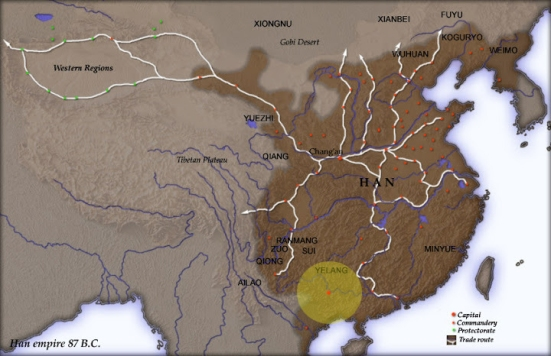 Bản đồ Trung Quốc thời Hán với khu vực lãnh thổ Dạ Lang (đồ họa :nghiencuulichsu)