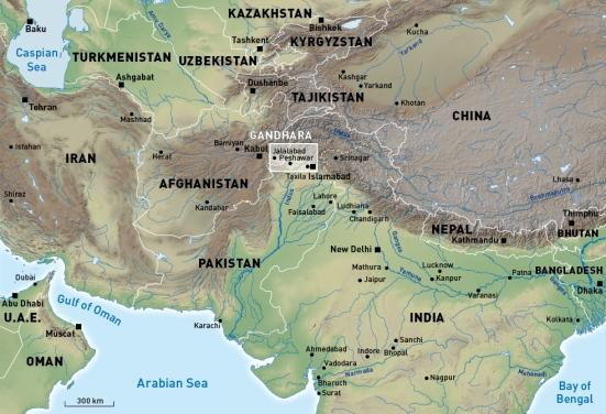 Bản đồ thời kì Gandhara, từ thế kỉ 1 trước CN đến 5 sau CN- Ảnh: holieu.blogspot.com