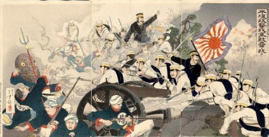 Chiến tranh Hoa Nhật tại Bình Nhưỡng (tháng 8-1894) Nguồn : wikipedia