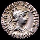 Chân dung Vua Menander, vương quốc Bactria, được khắc trên đồng tiền cổ. (National Museum, New Delhi)