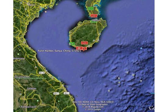 Vị trí của căn cứ Du Lâm trên đảo Hải Nam