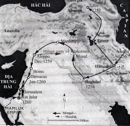 Bản đổ hành quân của Mông Cổ và Mamluk