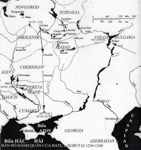 Bản đồ cuộc hành quân của Batu và Subutai