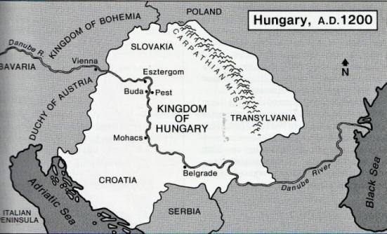 Bản đồ Hung Nguồn: Hugaria- Geography Department