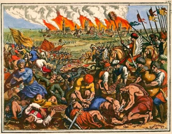 Tranh vẽ của Matthäus Merian Starszy 1593-1650 Mô tả lại trận Legnica- lúc Mông Cổ đã đưa đầu Henry II.