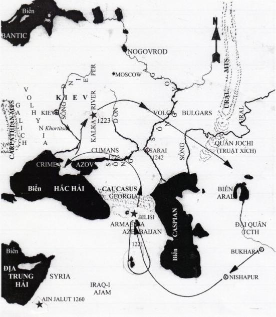 Bản Đồ ghi lại cuộc hành quân của Jebe và Subutai. Nơi có hình ngôi sao là các trận đánh nảy lửa.