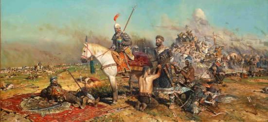 Trah mô tả quân Mông Cổ đánh bại quân Nga ở trận sông Kalka