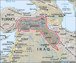 Khu vực mà người Kurd muốn có để thành lập nhà nước Kurdistan