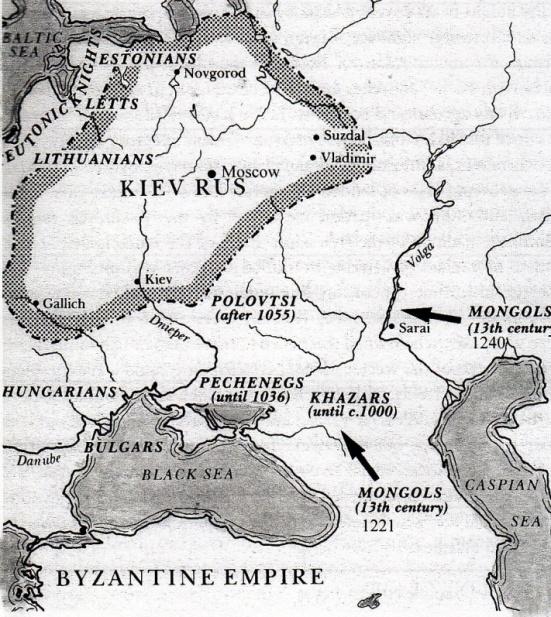 """Bản đồ Nga ở thế kỉ XIII. (Sửa chữa lại từ bản đồ từ quyển """"Russia and the USSR"""" Peter Neville)"""
