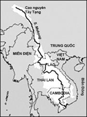 Sông Cửu Long và lưu vực (vùng màu trắng)