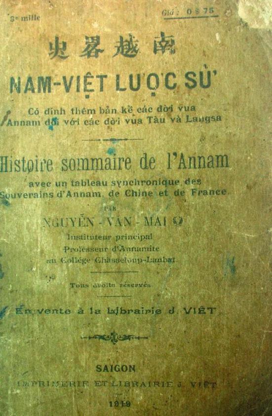 Bìa cuốn Nam Việt lược sử của Nguyễn Văn Mai in năm 1919 - Ảnh tư liệu