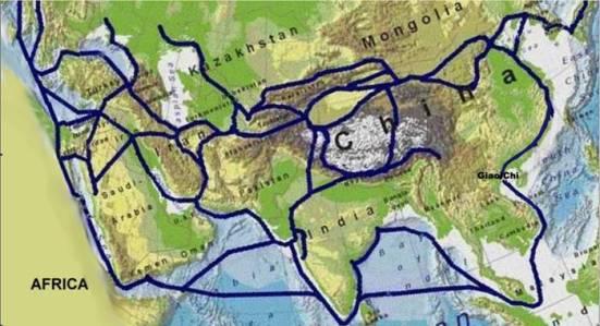 """Đường """"Tơ Lụa Trên Biển"""" lúc xưa đi ngang qua Biển Đông. Từ Giao-Chỉ, hàng-hoá được chuyển-tiếp bằng đường bô sang các đô-thị Trung-Hoa."""