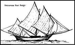 Thuyền duyên-hải Việt-Nam trang bị các loại buồm tứ-giác tiến-bộ nhất. Nếu được điều chỉnh khéo léo, nhiều thuyền Việt-Nam chạy tự-động, không cần người thay đổi tay lái.[26]