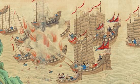 Bức tranh được hoạ vào cuối đời nhà Thanh mô tả chiến sự giữa quân triều đình và Hải phỉ biển Đông (Nam Hải)
