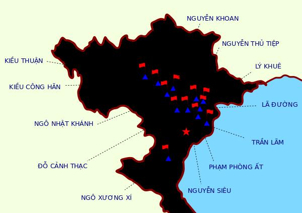 """Vị trí chiếm đóng (dọc sông Hồng) của 12 vị bị gọi là """""""