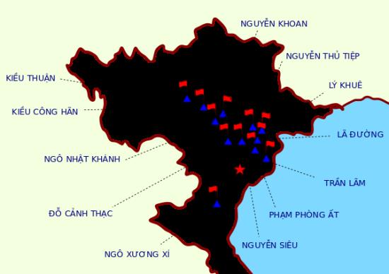 """Vị trí chiếm đóng (dọc sông Hồng) của 12 vị bị gọi là """"sứ quân"""""""