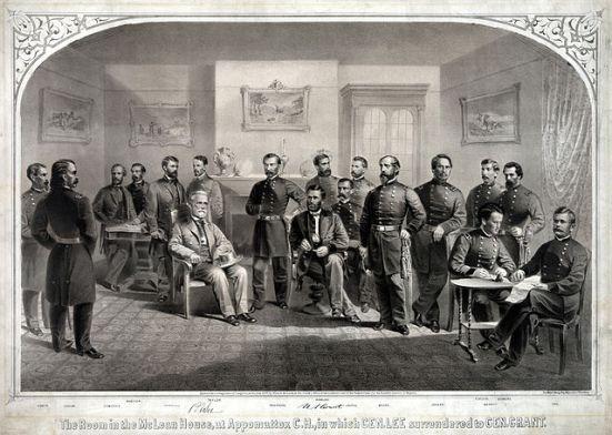 Tướng U. Grant chấp nhận tướng Lee ra hàng tại một ngôi nhà dân ở Appomattox, Virginia
