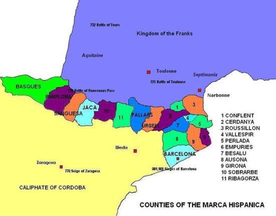 Bản đồ khu vực Marca Hispanica