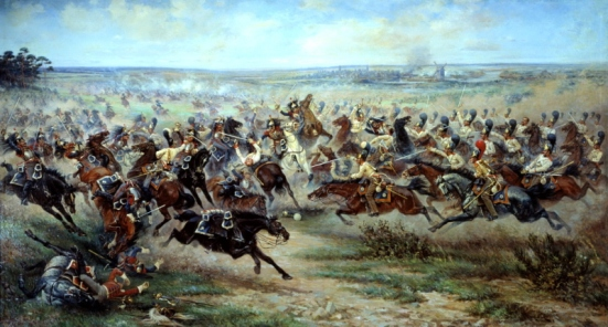 Attack of the Life Guards regiment at the French cuirassier in the battle of Friedland June