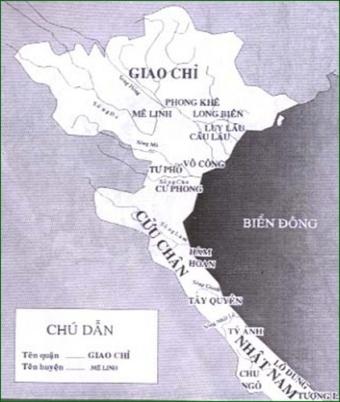 Lược đồ Âu Lạc thế kỷ I-III (Nhà Hán chia Âu Lạc thành ba quận là Giao Chỉ,Cửu Chân và Nhật Nam )