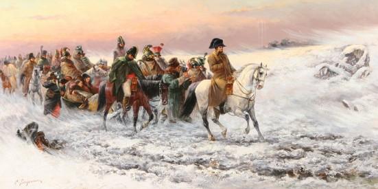 Napoleon rút lui khỏi Moscow.-Tranh của Piotr C. Stojanow (Bulgarian,1887)