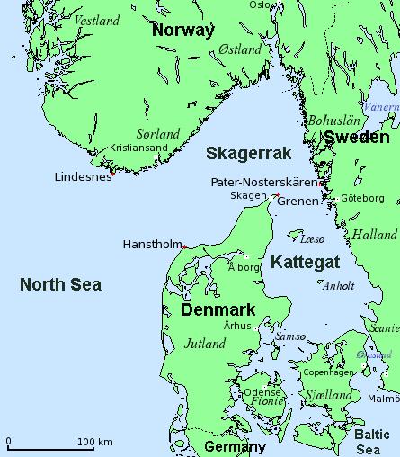 út cổ chai Skagerrak, cửa ngõ chiến lược vào Baltic và Bắc Đại Tây Dương, vùng biển ngoài khơi Jutland và Na Uy
