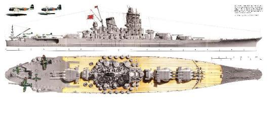 Chiếc Yamato - chiếc thiết giáp hạm lớn nhất thế giới, nó được đóng với những khẩu súng có cỡ nòng khổng lồ 18.1 inc với mục đích là để xử bắn các chiến hạm của Đồng minh
