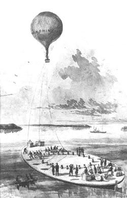 Bóng khí cầu Washington của quân đội Liên bang trên chiếc sà lan Hải quân George Washington Parke Custis