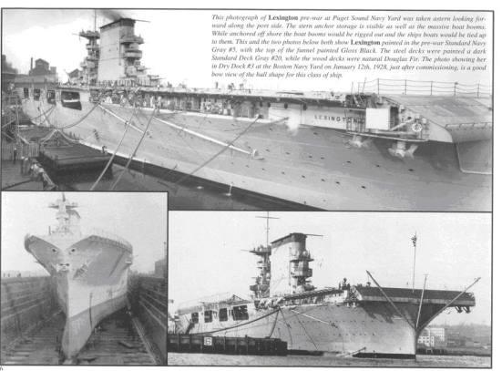 Ảnh trên chụp chiếc Lexington khi đang được nâng cấp tại Puget Sound Navy Yard Hai ảnh dưới: vẫn chiếc Lexington tại ụ tầu số 3 ở Boston Navy Yard ngày 12 tháng 1 năm 1928, sau khi nâng cấp con tầu này có một cái mũi tầu rất lạ mắt