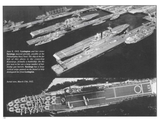 Ảnh chụp ngày 08/06/1932 chiếc USS Lexington và chiếc chị em song sinh của nó USS Saratoga đang cùng thả neo tại Philadelphia Navy Yard, đặc điểm để phân biệt là chiếc Saratoga có một cái sọc xẫm mầu ở ống khói